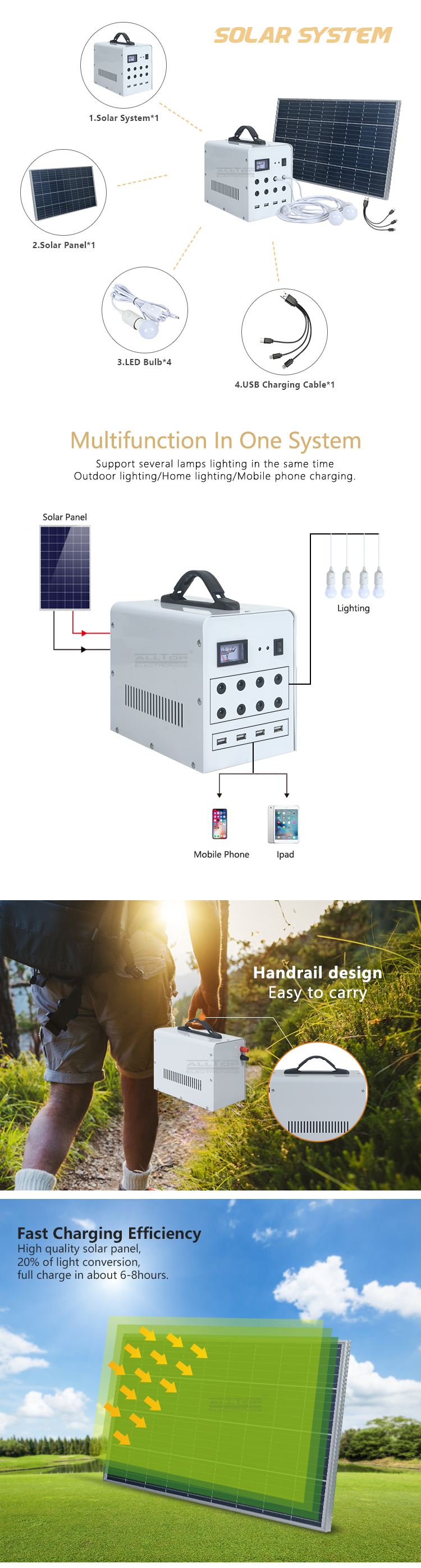 New design wholesale portable 50w solar system panel kit set home