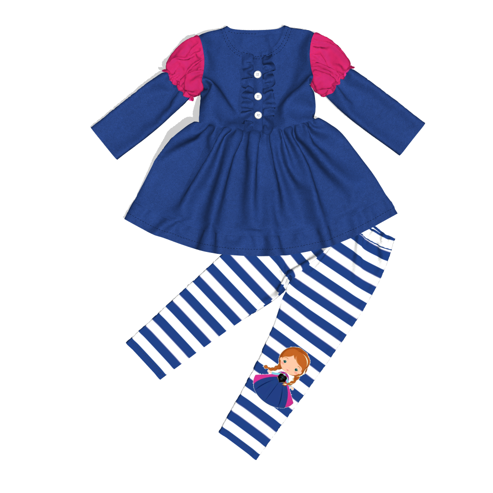Conice nini new design Leisure cotton Little princess pattern kids Dress suit wholesale