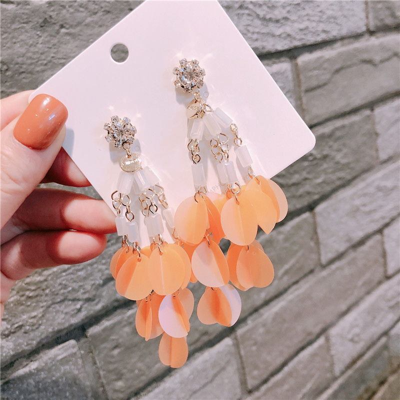 ZJQ0029 Trade assurance summer shiny zircon tassel earring silver needle round charm drop female earring party jewelry gift