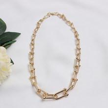 Женское массивное ожерелье [EAM], черное ожерелье с металлическим разрезом, универсальное, весна-осень 2020 1T39508(Китай)