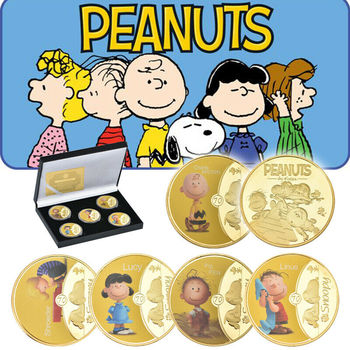 Hot Sale Peanuts Charlie Brown Snoopy Lucy Gold Commemorative Coin America Cartoon Souvenir Gold Coin For Commemorate