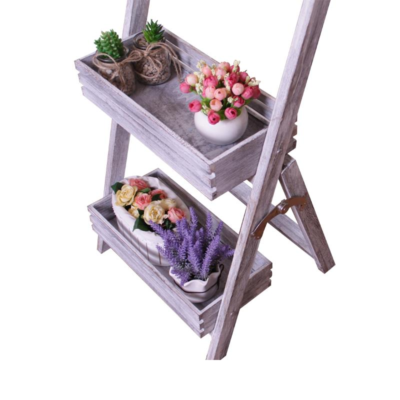 Folding wooden 2-layer display shelf storage cabinet flower shelf decoration