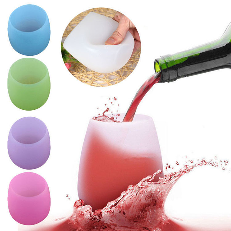 Custom Silicone Wine Glasses Unbreakable Collapsible Silicone Cups