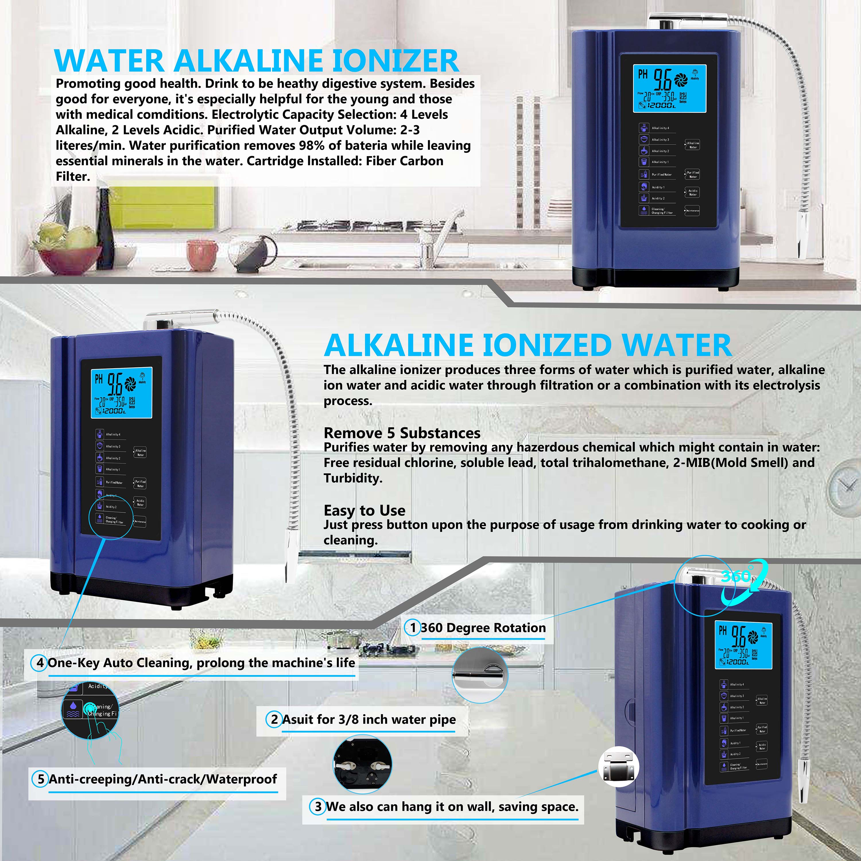reliable living water alkaline water ionizer from China for health-5