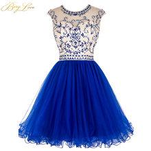 Короткое платье BeryLove для выпускного вечера, ярко-синее платье, лиф со стразами, юбка с оборками, разноцветное короткое платье для выпускного...(China)