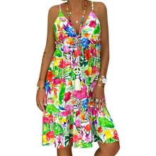 Женское свободное платье трапециевидной формы с регулируемым плечевым ремнем длиной до колена без рукавов, сексуальное женское платье с v-о...(Китай)