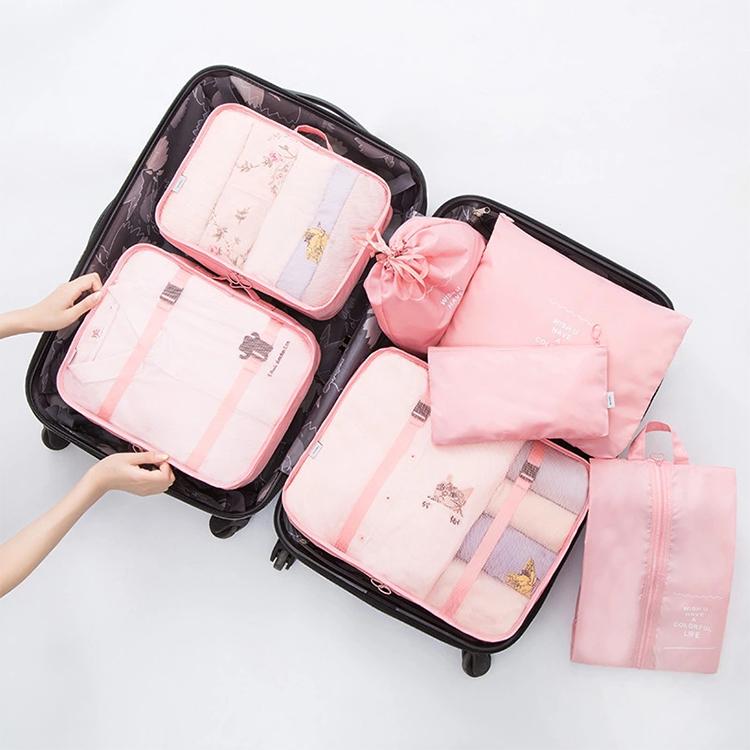 Multifunktionale Reise kleidung lagerung Wasserdichte Reisen Tasche 7pcs Großhandel travel pouch set