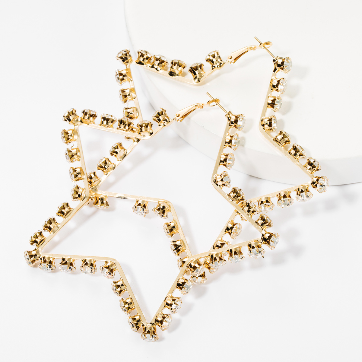 2020 New Fashion Statement Rhinestone Earrings Big Star Diamond Hoop Earrings For Women