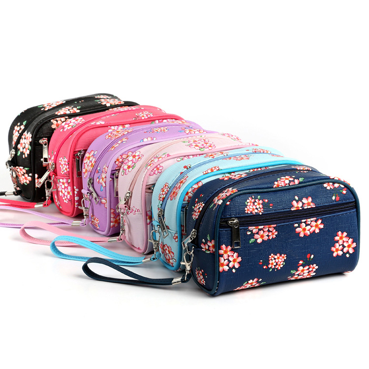 Hoe Sales Best Quality ODM Polyester flower printing Makeup Bags