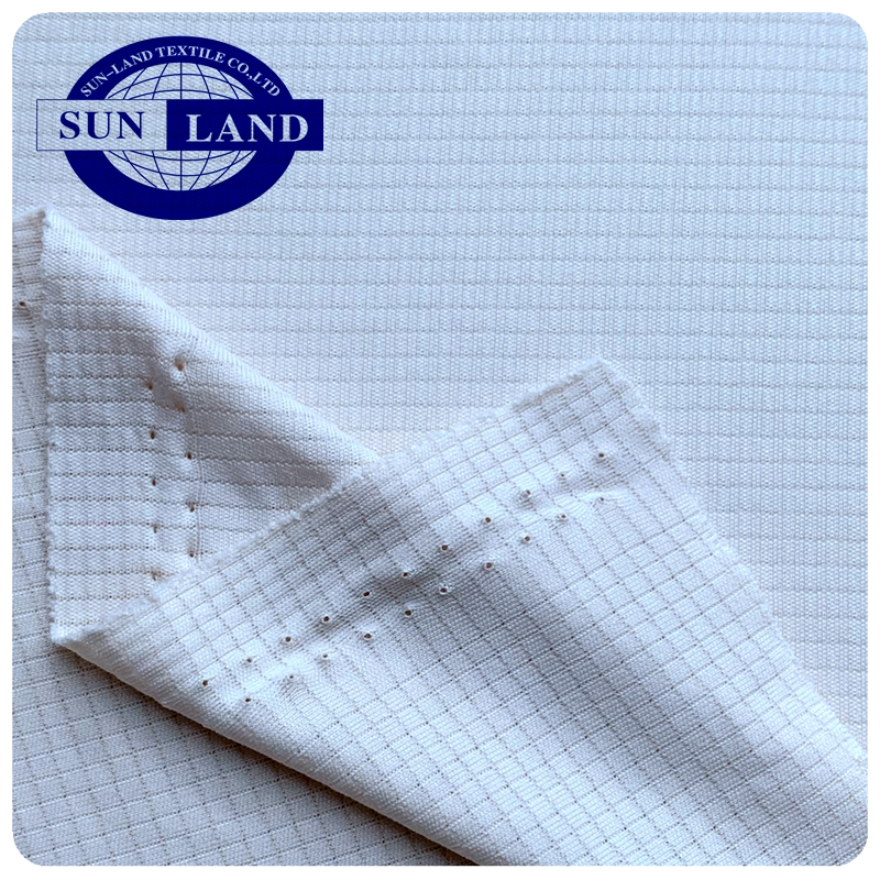 100% polyester knit sport dry fit grid check mesh fabric for sportswear