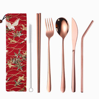 Wholesale 304 Stainless Steel Korean Cutlery Rose Gold Flatware Knife Fork Spoon Straw Travel Utensil Set