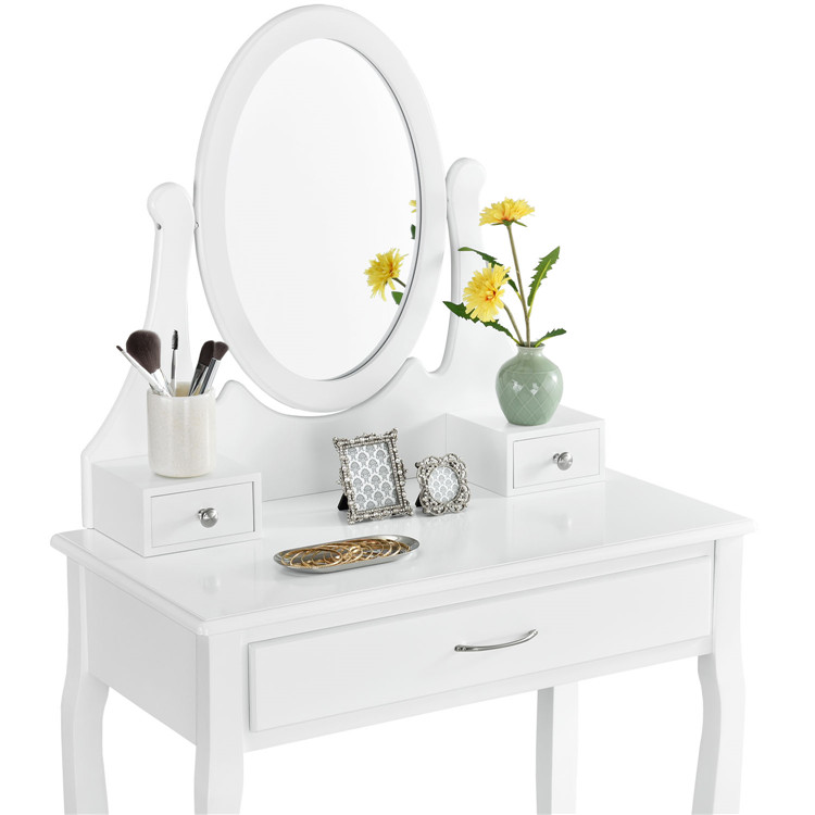 Simplicity White Bedroom Furniture Dresser With Mirror