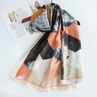Scarf Long Custom Design Printing Silk Scarf Beach Shawl Fashion Women Long Silk Scarf