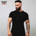 TRY Mens custom t shirt Tight-fitting muscle Men's Everyday Cotton Blend Short Sleeve men's t-shirts