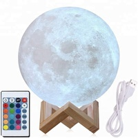 3D moon lamp USB led night light lunar moonlight lamp bedroom christmas decoration gift touch sensor 16 color changing