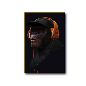 The shrewd 3 Wise SWAG Chimp Canvas Wall Art on a black background is cool if you love the pop art poster 3 panels