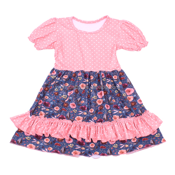 Small Polka Dot Pattern Baby Clothes Sweety Girls Floral Dress Boutique Ruffles Children Frocks