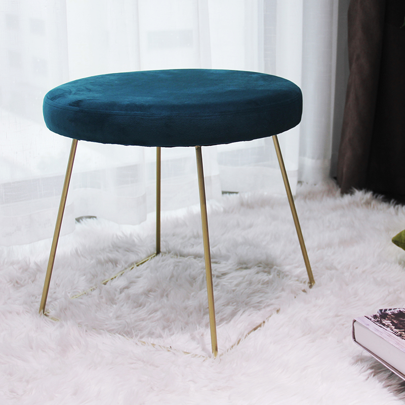 2020 living room furniture round velvet storage ottoman stool pouf with metal legs and coffee table