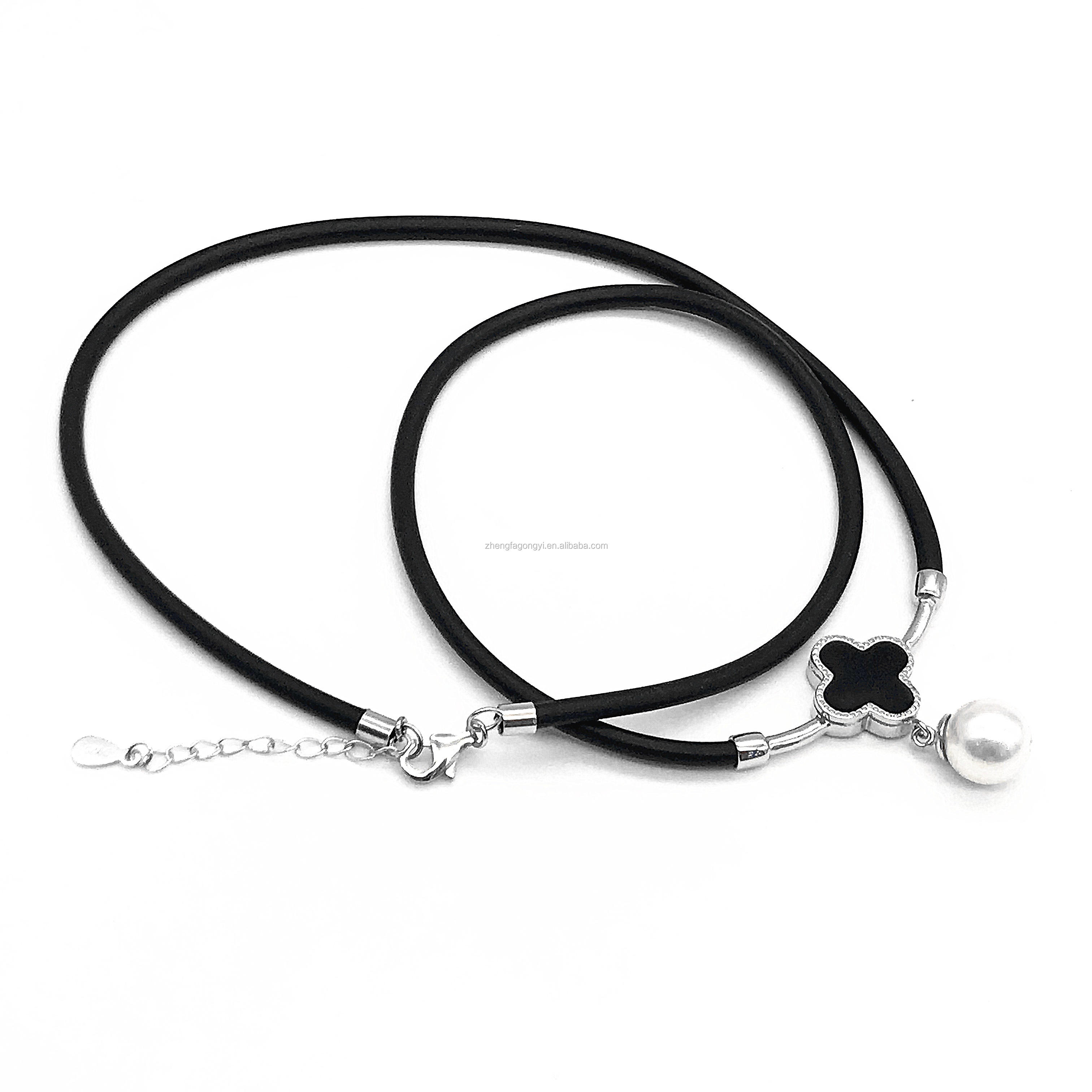 925sterling silver leather jewelry new fashion necklace for women