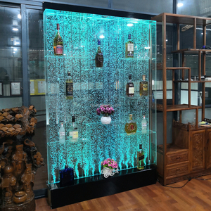 Indoor led light water bubble wall wine cabinet for  home night club bar furniture decoration