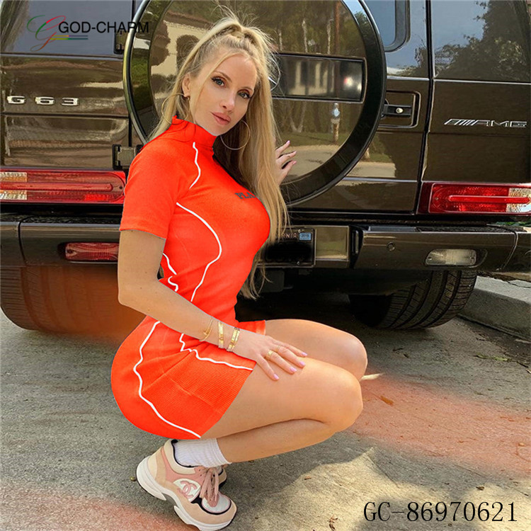 YH-86970621  Wholesale    summer fashion casual prom orange lime neon short sleeve sport dress woman