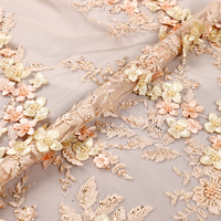 Wholesale Chantilly Beaded Crystal Bridal Fabric, Handwork Beaded Tulle Fabric with Sequins and Rhinestone