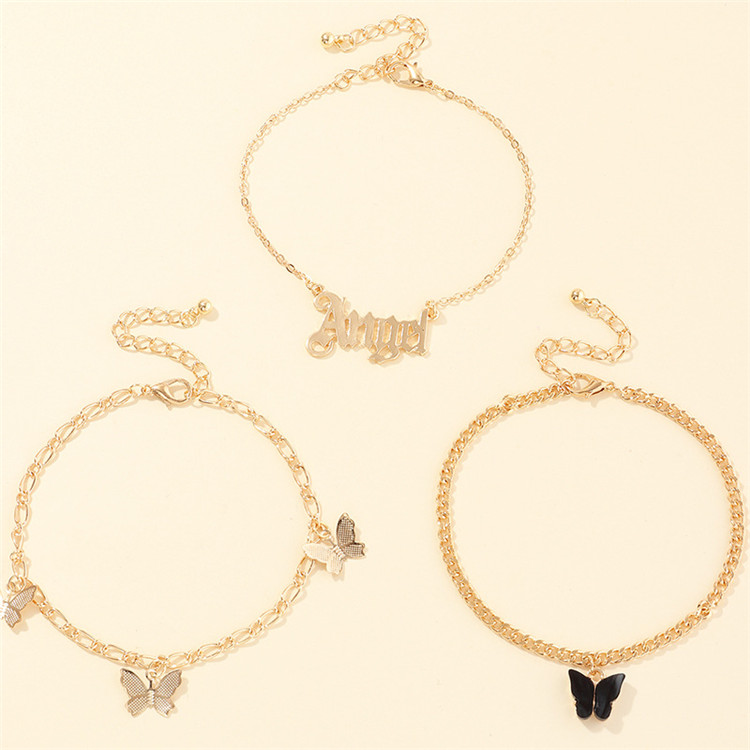New Arrival Custom First Name Three-layer Cuban Link Pink Black Color Butterfly Pendant Chain Anklet Set