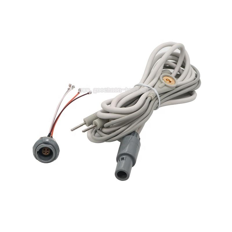 Medis Kabel 4PIN Lock Tipe Plug untuk 2 Memimpin EKG Elektroda Pin Kabel