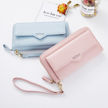 Women's Long Wallets Money Clip Card Case Holder Large Capacity Purse Clutch with Wrist Strap