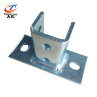 Wholesale Hot dip square post steel galvanized channel slotted base plate fitting support bracket solar support