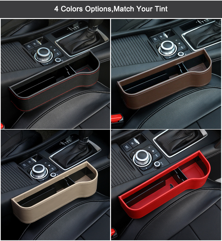 New Luxury PU Leather Car Seat Side Gap Filler Organizer Storage Box with Big Bottle Cup Holder