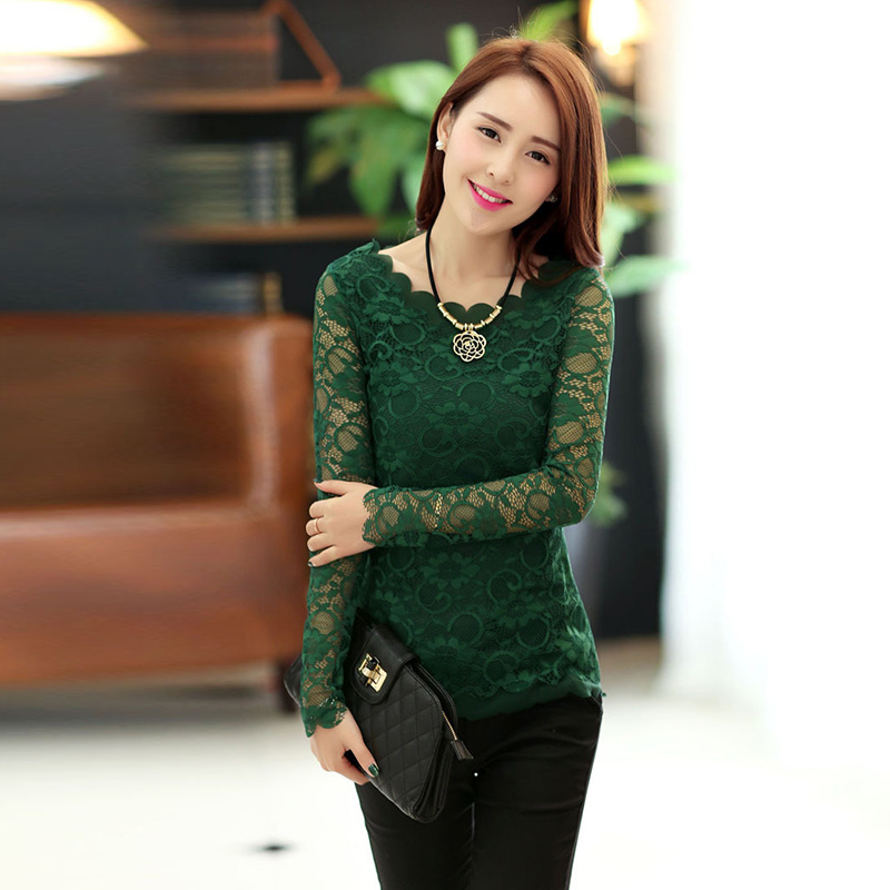 Hot Long Sleeves Sexy <strong>Lace</strong> <strong>Blouse</strong> Women tops