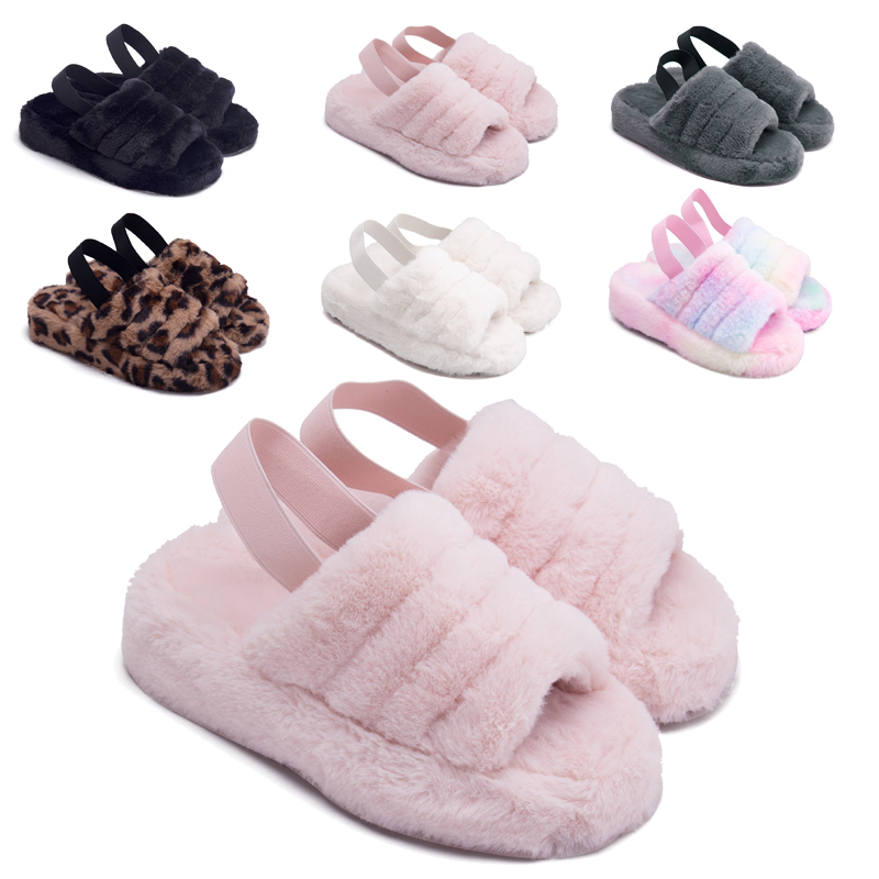 drop shipping Women Soft Plush Furry Cozy Open Toe House Flat Slippers lamb Fur Warm Comfy uggh sandals Fluff Yeah Slide Slipper