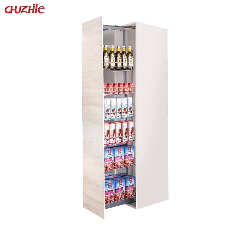 OEM Tall Unit price Kitchen Cabinet Wine Drinks Pantry cabinet Storage Basket Drawer Organizer Pull Out Linkage Sliding Basket