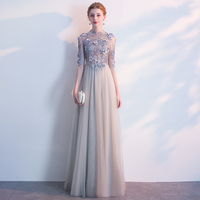 Elegant Fashion Chiffon A-Line TaoBao Party Evening Dress Beaded Flower Appliqued Half Sleeve Pleated Long Evening Dress