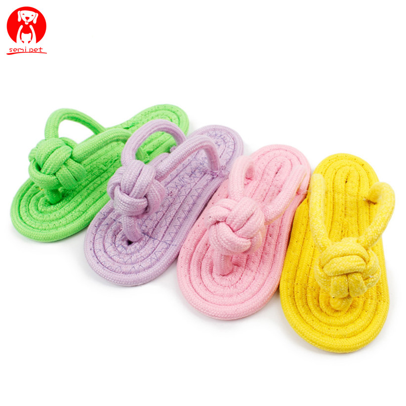 Cotton Rope Dog Toy Slipper Shoes Shape Pet Dog Biting Chew Firm Pet Toy Outdoor Training for Small Medium Dogs