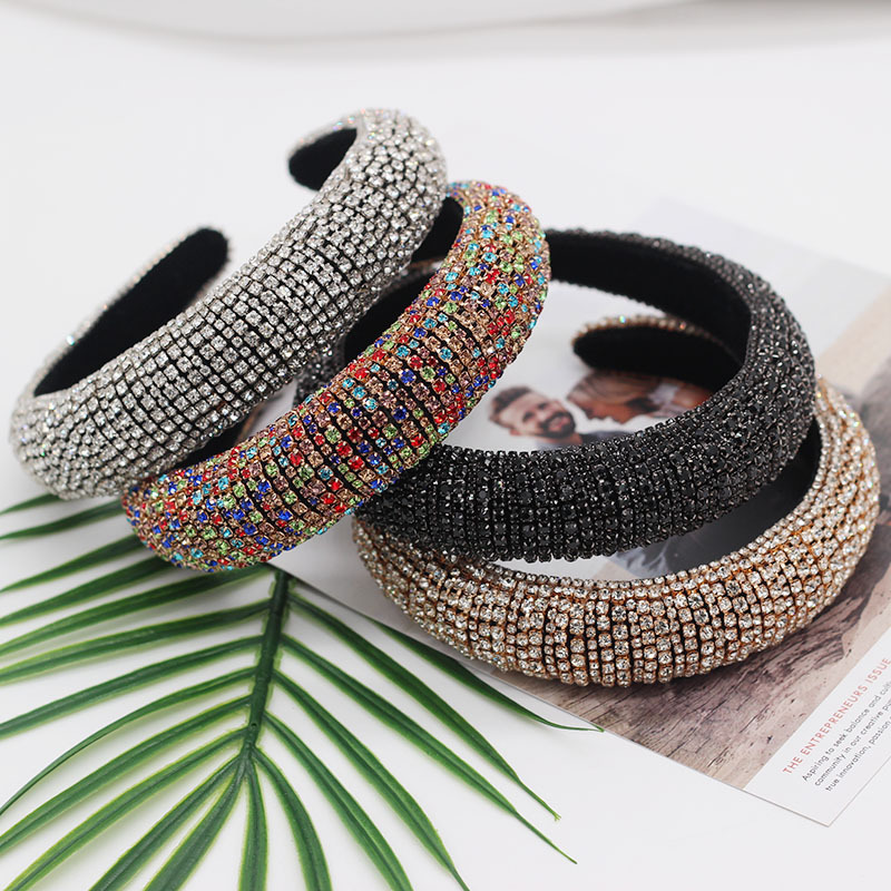 new design Europe Baroque full diamond luxury <strong>headband</strong> hair accessories women wholesale catwalk baroque color diamond <strong>headbands</strong>