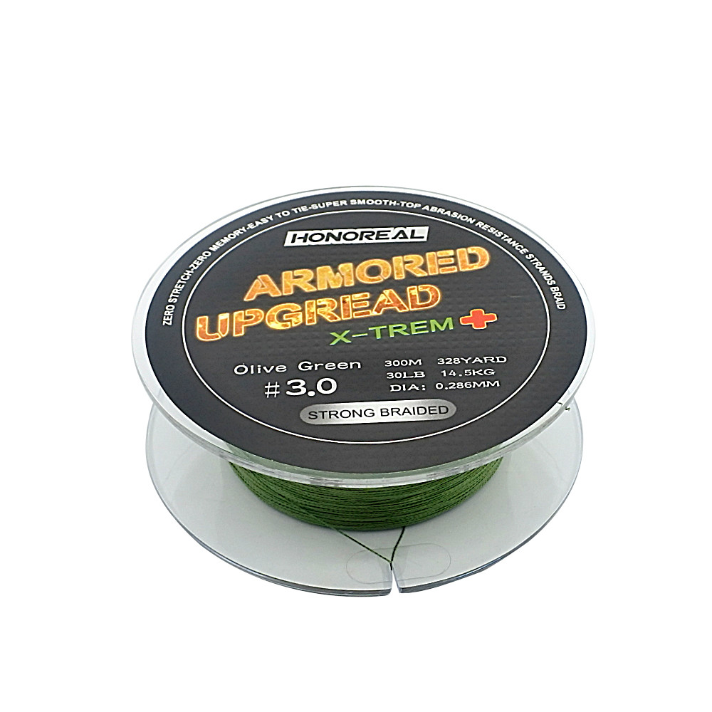 HONOREAL 300m 4 Strands Super Strong PE Braid Fishing Line, Dark grey and olive green