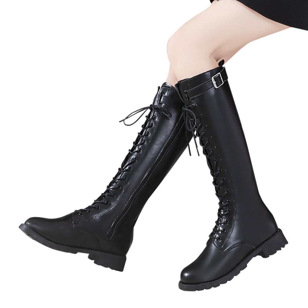 Moda cinturón hebilla Correa botas largas invierno cordones