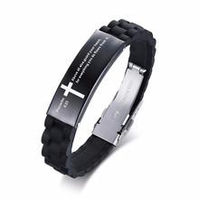 Vnox религиозный Крест Иисуса Писания Цитата стих из Христианской Библии вдохновляющие вера силиконовые браслеты для мужчин персонализиров...(Китай)