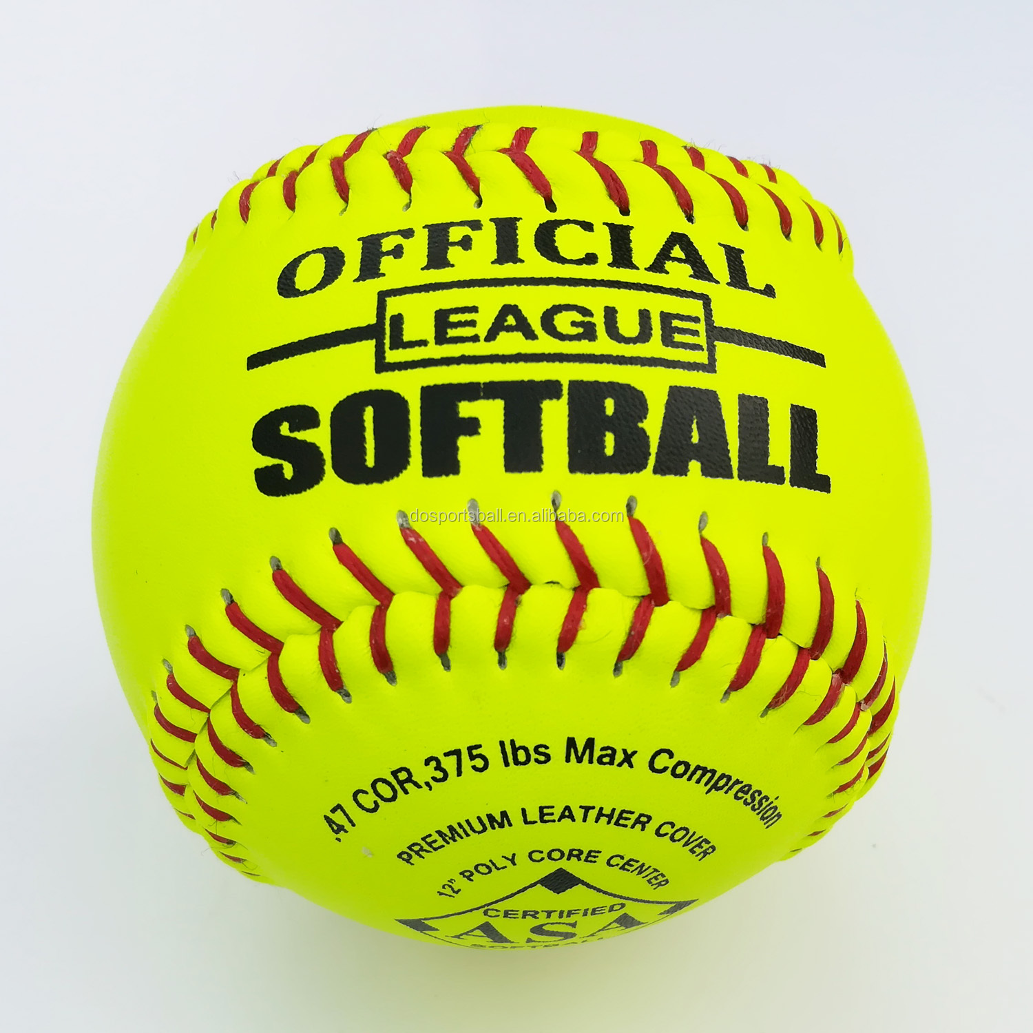 COR.52, 300 LBS compression slow pitching optic yellow leather+ polycore 12'' softball balls custom logo game quality softball
