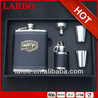6oz Low Price Customized Print Stainless Steel Leather Classical Whisky Hip Flask Gift Set