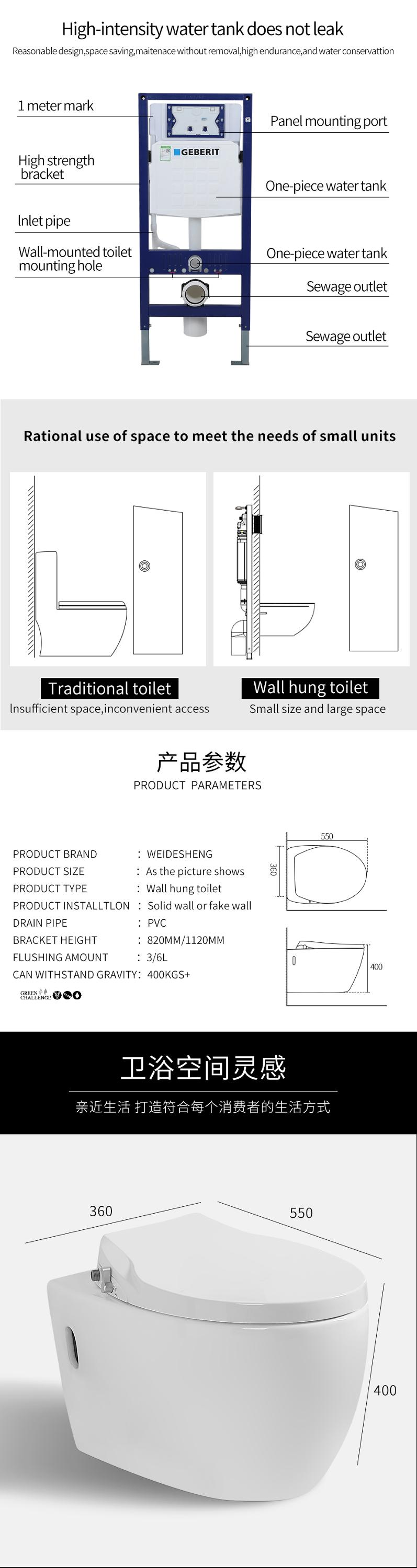 Wall hung wc with wash function for concealed cistern  China public ceramic sanitary ware bathroom robust solid surface rimless