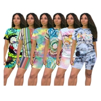 New Arrival Casual Lady Tracksuit Short Sleeve Cozy Colorful Cartoon Print Plus Size Summer Women Jogging 2 Piece Set