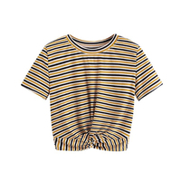 2019 Hot Selling Ladies Latest Wholesale Women Fashion Design Custom Knot Striped Twist Front Ribbed Crop Short Sleeve t shirt