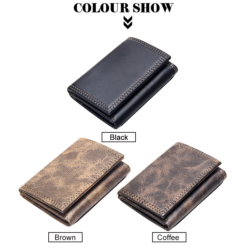 product-New Men Wallets Small Money Bag Retro Design Top Men Thin Wallet With Coin Purse Short Busin