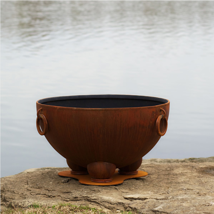 Outdoor table top camping corten steel metal brazier fire pit