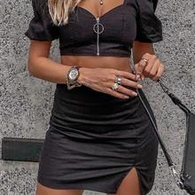 Женский комплект из 2 предметов, Модный укороченный топ на бретельках и шорты, осенне-зимний трикотажный комплект из двух предметов, модель ...(Китай)