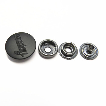 20mm Strong Matte Black Custom logo Metal Snap Buttons