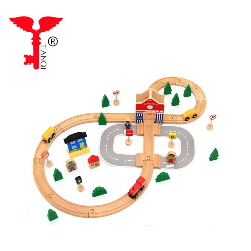 Wooden 8-track building blocks small train magnetic insertion track children's puzzle toys